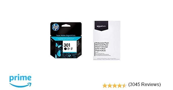 HP 301 - Cartucho de tinta para HP Deskjet, negro & AmazonBasics Papel multiusos para impresora A4 80gsm, 1 paquete, 500 hojas, blanco