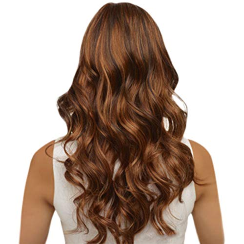 Oufenli Long Curly Hair Big Wavy Wig 25'' Long Hair Heat Resistant Fiber Synthetic Natural As Really Wig For Black White Women Daily Costume Cosplay Party Wig(Brown) -
