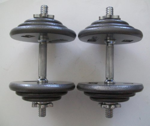 70 Lb. Verstellbares Hantel-Set mit grau oder schwarz Platten von Apollo oder kamparts