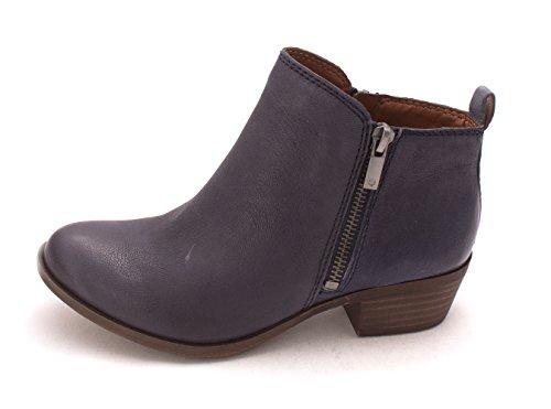 Indigo Leather Platforms (Lucky Brand Womens Basel Leather Closed Toe Ankle Fashion, Indigo, Size 5.0)