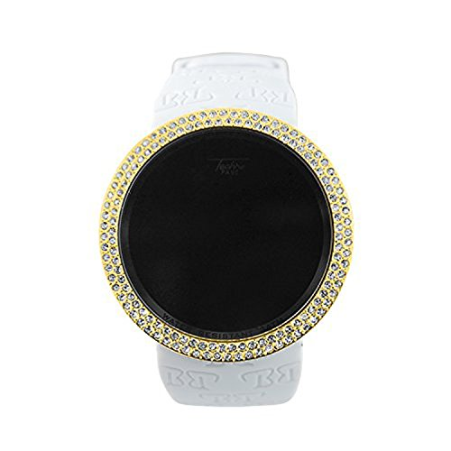 Techno Pave Iced Out Bling Lab Created Gold White Digital Touch Screen Sports Watch Rubber Silicone Band