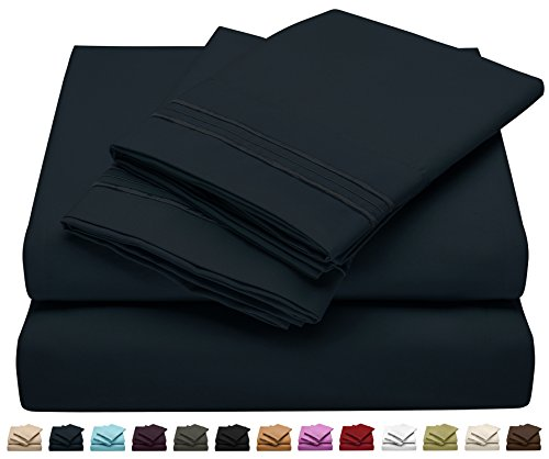 Twin Size Bed Sheet Set - Soft Brushed Microfiber Luxury Comfort Sheet Set - 1800 Thread Count Bedding Linens – Navy Blue - Victoria Collection by Jessie Porter