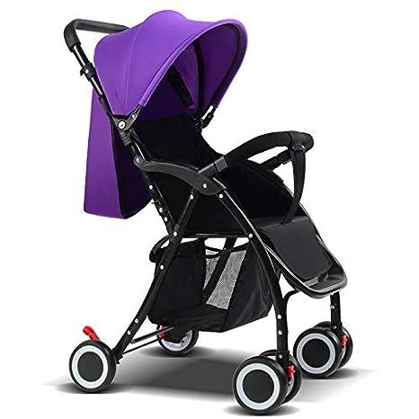 WSBBNAW Carro de bebé Carro de bebé Portátil Paisaje alto Toldo de dos vías Carro de cuatro ruedas para niños Edad: 1-3 años, 206 Estándar púrpura: ...