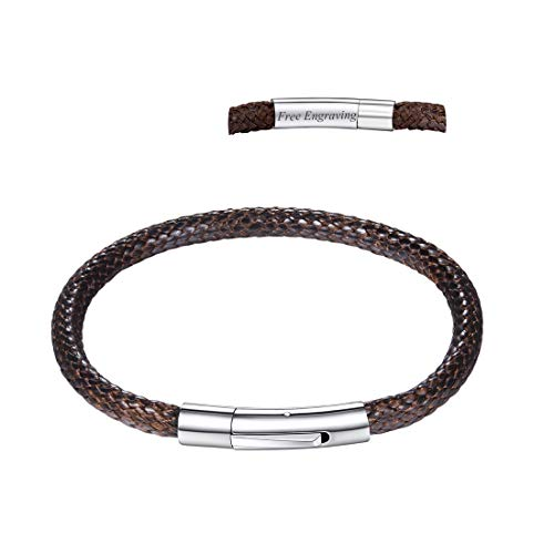 U7 Customizable Stainless Steel Clasp 4mm Wide Braided Woven Wax Leather Bracelet, Engravable, Length 18cm 20cm 22cm (Brown (Personalized), 7.9)