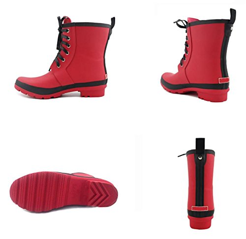 Red boots Axis Middle Non Blue Women's Black Waterproof SYYAN Red slip Rubber Rain wq4RnvO