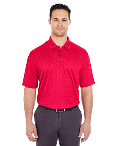 (Ultraclub Men's Cool & Dry Elite Jacquard Polo Shirt, Red, Medium)