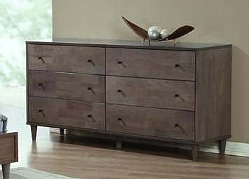 Amazon.com: Vilas Light Large Charcoal Wood 6-drawer Chest Dresser ...