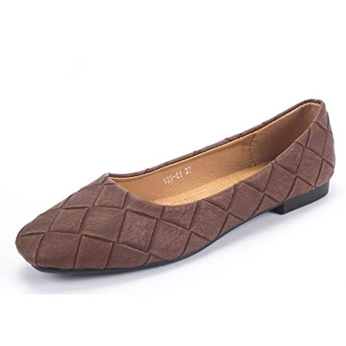 wholesale Women's Square Toe Flats Ballet Comfort Slip On Quilted Flats Shoes