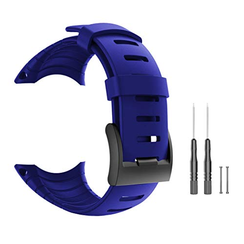 Picowe Suunto Core Watch Band Strap, Blue Rubber Watch Replacement Band Strap Accessories for SUUNTO CORE SS014993000/SS013336000/SS013337000