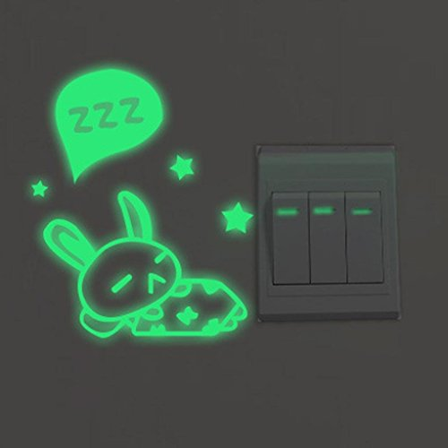 Gbell Glow in The Dark Light Switch Stickers for Bedroom Boys Girls,Night Luminous Rabbit Dog Wall Stickers- Kids Room Home Kitchen Bathroom Decor,Green (A) ()