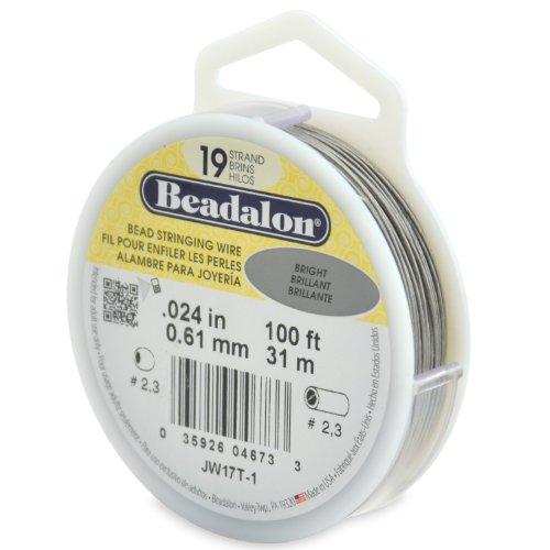 Beadalon 19-Strand Bead Stringing Wire, 0.024-Inch, Bright, 100-Feet - Beadalon 19 Strand Beading Wire