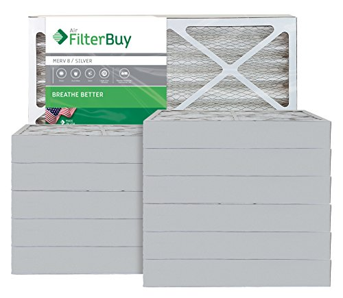 AFB Silver MERV 8 24x28x4 Pleated AC Furnace Air Filter. Pack of 12 Filters. 100% produced in the USA.