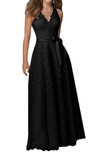 HWAN Frauen reizvolle V Ausschnitt Spitze Abschlussball Kleid Abend ...