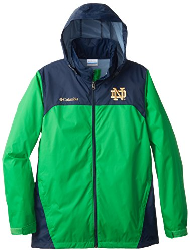 Notre Dame Irish Jacket - NCAA Notre Dame Fighting Irish Collegiate Glennaker Lake Rain Jacket, Fuse Green/Navy, X-Large
