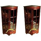 D ART COLLECTION 2 Piece Mahogany Corner PI Cabinet Set