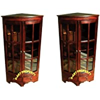D-ART COLLECTION 2-Piece Mahogany Corner PI Cabinet Set
