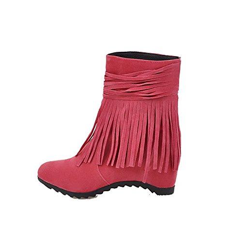AgooLar Damen Rund Zehe Ziehen auf Schön Velours Rein Hoher Absatz Stiefel Rosa