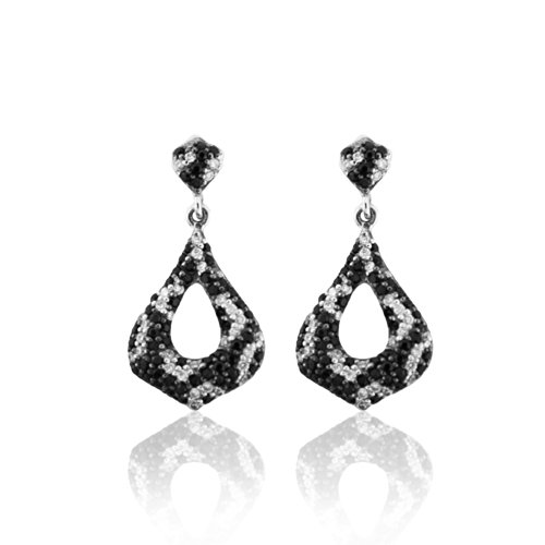 75-Carats-Sterling-Silver-Earrings-WBlack-White-Cubic-Zirconia