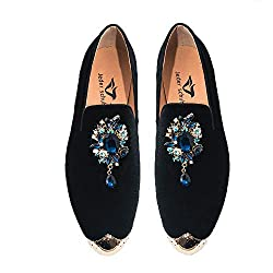 Metal Toes with Crystal Buckle Loafers