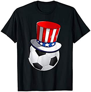 Soccer With American Flag Hat Patriotic 4th Of July Tshirt T-shirt   Size S - 5XL