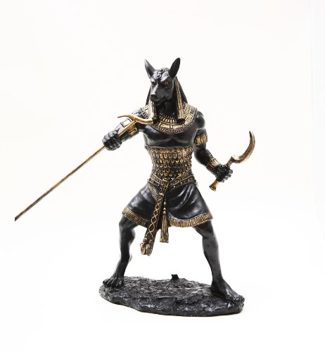 Statue Set - PTC 10 Inch Seth Fighting Warrior Egyptian Mythological Statue Figurine,Black and Gold