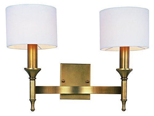 Maxim 22379OMNAB Fairmont 2-Light Wall Sconce, Natural Aged Brass Finish, Glass, CA Incandescent E12 Incandescent Bulb , 54W Max., Damp Safety Rating, 3000K Color Temp, Acrylic Shade Material, 3000 Rated Lumens