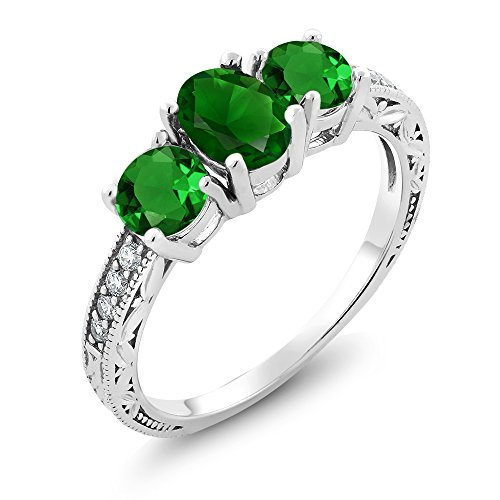 Gem Stone King Green Simulated Emerald 925 Sterling Silver Women's 3-Stone Ring 2.40 Ct Oval (Size 7)