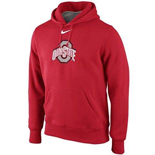 (Nike Ohio State Buckeyes Men's College Classic Logo Fleece Pullover Hoodie (XL, Red))