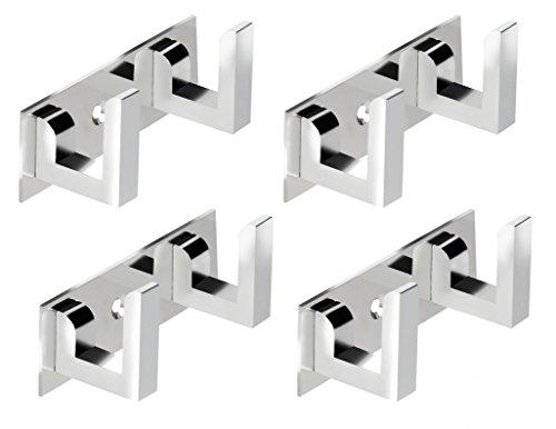 DOCOSS Steel 2 Pin Bathroom Cloth Hooks Hanger, Medium  Silver    Pack of 4