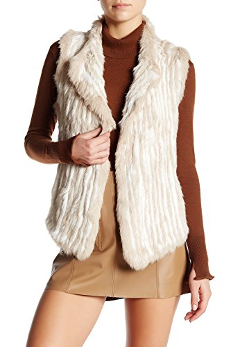 Joie Women's Mahoney Tonal Striped Genuine Rabbit Fur Vest Mushroom/Porcelain Size - Mushroom Porcelain