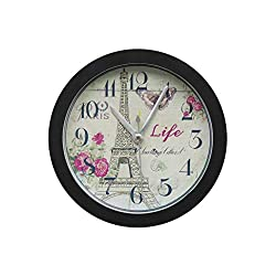 Silent Alarm Clock,FIN86 Classic Eiffel Tower Portable Clock Modern Graceful Bell Desk Creative Digital Alarm Quartz Clock,for Living Room Bedroom (Black)