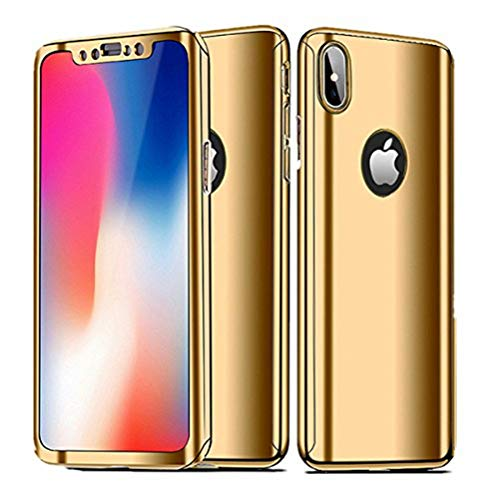 iPhone X Case Slim 360 Degrees Full Body Protection 3IN1 Anti-Scratch Plating Mirror Case Cover with Tempered Glass Screen + Hard PC Protector (iPhone x, Golden)