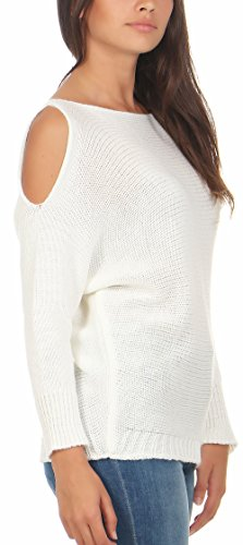 Femme Chandail Pullover Taille Shoulder Could 7335 Malito Unique Blanc wOgaXAqa
