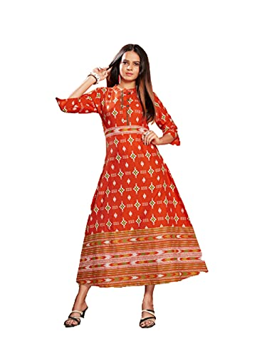MUKTA DESIGNS Full Flair Pure Cotton Gown Anarkali Dress for Women Stylish Patterns and Colours with ikkat Print for All Occasion Office wear | Casual wear