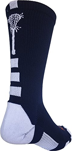 Midline Lacrosse Logo Crew Socks (Navy/White, Small) - Athletic Logo Socks White