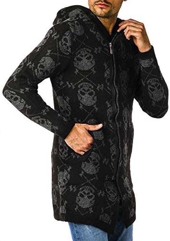 Leif Nelson męska kurtka z dzianiny z kapturem, zamek błyskawiczny, kardigan, czarna kurtka na zimę, kurtka przejściowa, kurtka męska, kurtka na czas wolny, czaszka, slim fit, LN5905: Odzież