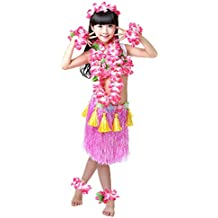 Fighting to Achieve Girls Hawaiian Hula Set with Tassels 8pcs