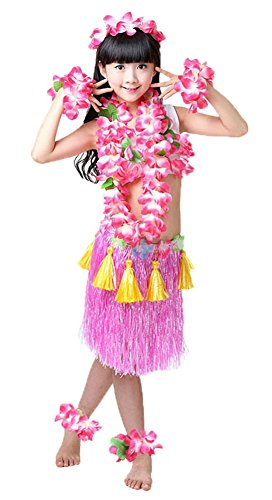 Tahitian Hula Costume (Fighting to Achieve Girls Hawaiian Hula Set with Tassels 8pcs)