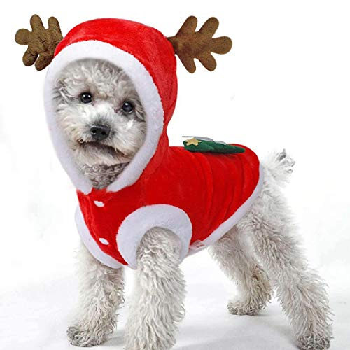 sholdnut Cute Pet Dog Coat, Dog Winter Clothes Christmas Tree Pattern Clothes Dog Hoodie Coat Cold