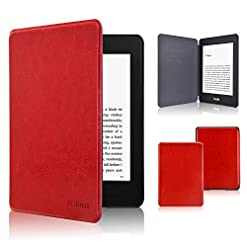 ACcolor Kindle Paperwhite Case 2018, The Thinnest and Lightest Leather Compatible All-New Kindle Paperwhite 10th Generation, Red