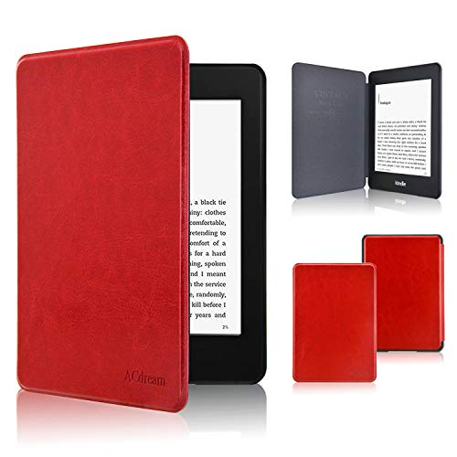 Kindle Paperwhite Case 2018, ACdream The Thinnest and Lightest Leather Smart Cover Case for 2018 New Kindle Paperwhite (Only Fit 2018 Kindle Paperwhite 10th Generation), Red