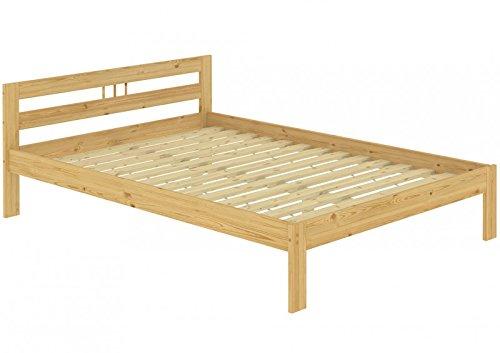 Lit double en pin naturel 140 x 200 bois massif Lit futon Lit Français lattes 60.64–14