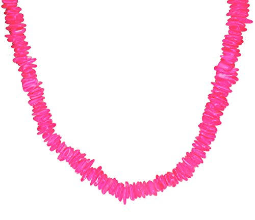 Puka Necklace - 18 Inch - Surfer Necklace - Tropical Necklace - Beach Necklace - Shell Necklace - Hawaiian Necklace - Beach Necklace (Pink Neon) -