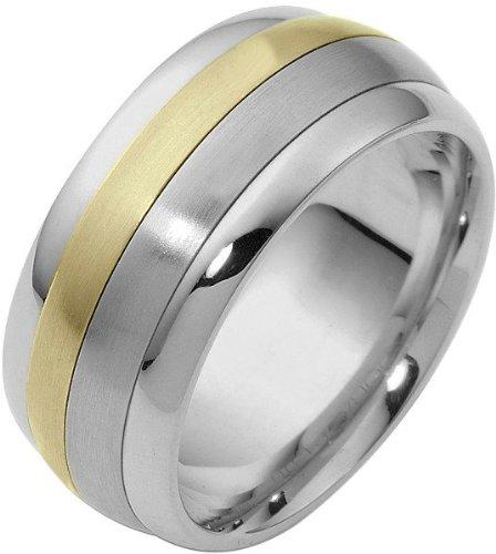 (18 Karat 9mm Two-Tone Gold Designer SPINNING Wedding Band Ring - 575)