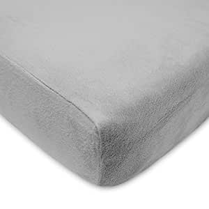 American Baby Company Heavenly Soft Chenille Fitted Crib Sheet for Standard Crib and Toddler Mattresses, Steel Grey