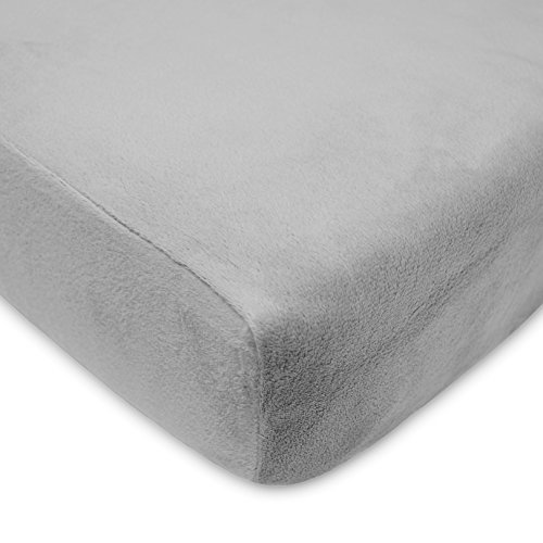TL Care Heavenly Soft Chenille Fitted Crib Sheet for Standard Crib and Toddler Mattresses, Grey,28 x 52, for Boys and Girls