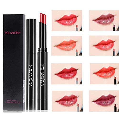 Ownest 8 Colors Press-type Lipstick,Matte Velvet Lipstick,Long Lasting and Waterproof,Hard to Fade, Silky Lipstick Set-8pcs