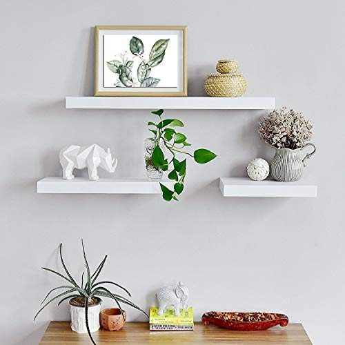 - aimu Set of 3 Floating Wall Shelves, Wall Mounted Gloss Shelf Unit,White Housewares Floating Shelf, Bedroom Kitchen Livingroom Office Decor Shelves for Wall,40x12x1.5cm(LxWxD).