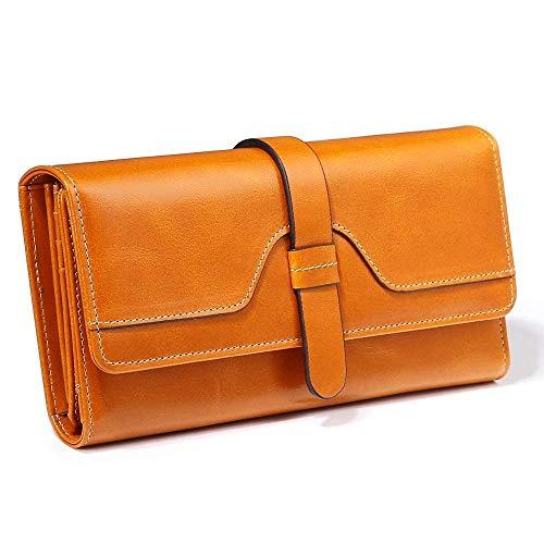 Womens Wallet Yellow (Long) Leather Trifold Long Short Interesting Bag Vivid Design Snap Closure Teen Girl Student