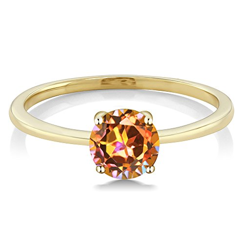 1.00 Ct Round Ecstasy Mystic Topaz Gold Solitaire Engagement Ring (Size 5,6,7,8,9)